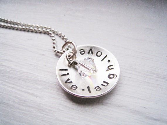 WORDS OF WISDOM - Handstamped Inspirational Sterling Silver Necklace with Swarovski Accent
