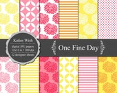 Instant Download One Fine Day Digital Paper Kit 12x12 inch CU for invites, scrapbooking, photo cards