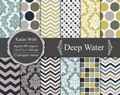 Instant Download Deep Water Digital Paper Kit  12x12 inch jpg files