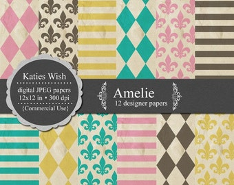 Amelie Digital Paper Kit 12x12 inch jpgs Instant Download for invites, scrapbooking, web design