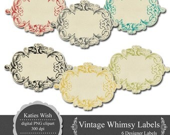 Vintage Whimsy Labels PNG Clip Art Digital Journaling Tags Instant Download for scrapbooking, invites, card making