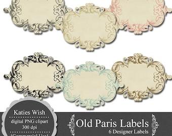 Old Paris PNG Digital Labels Digital Journaling Tags 300 dpi  Instant Download for invites, scrapbooking, card making