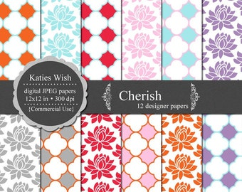 Cherish digital paper kit 300 dpi 12x12 jpg Instant Download files CU