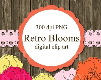 Retro Blooms Clip Art Kit PNG flowers for invties, scrapbooking, card making