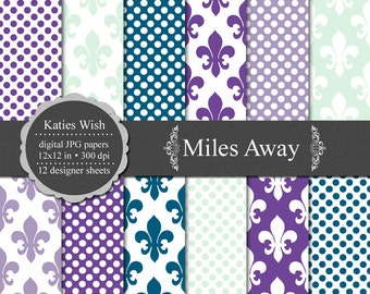 Miles Away Digital Paper Kit 12x12 inch jpgs files Commercial Use Instant Download