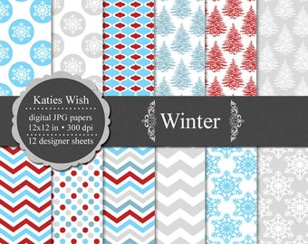 Winter Digital Scrapbooking Paper Kit  12x12 inch jpg Instant Download Commerical Use
