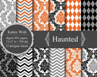 Instant Download Haunted Digital Halloween Paper Kit for Commercial Use