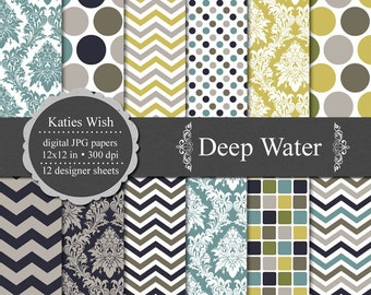 Instant Download Deep Water Digital Paper Kit  12x12 inch jpg files