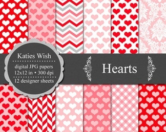 Hearts digital paper kit  Instant Download for Commercial Use
