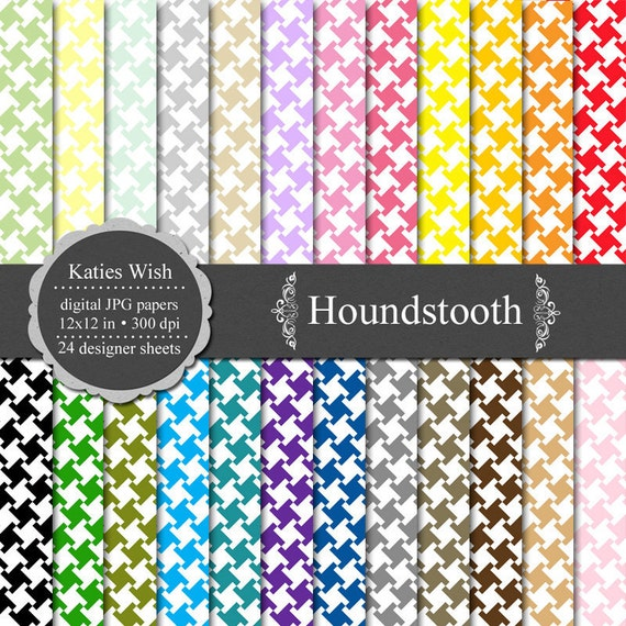 Houndstooth Digital Scrapbook Paper 12 x12 inch jpg Commercial Use CU
