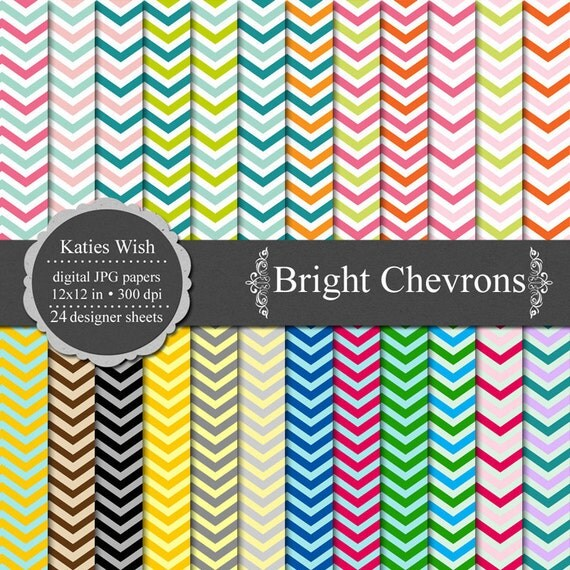 Instant Download Bright Chevrons Digital Paper Commercial Use Kit