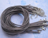 SALE 20pcs 18 inch 3mm gray flat korea velvet necklace cord with 2 inch extension chain