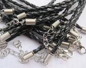 SALE 30pcs 18 inch 3mm black faux braided leather necklace cord with 2 inch extension chain