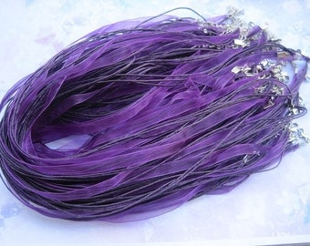 SALE 100pcs 18 inch dark purple ribbon necklace cord with 2 inch extension chain