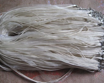 SALE 50pcs 18 inch beige  ribbon necklace cord with 2 inch extension chain