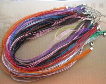 SALE 20pcs 18 inch assorted color ribbon necklace cord with 2 inch extension chain