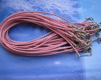 SALE 30pcs 18 inch 3mm pink faux braided leather necklace cord with 2 inch extension chain