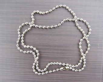 30pcs 2.4mm 27 inch white k ball chain necklace with matching connector
