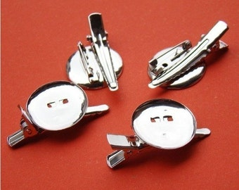 15 pcs 30mm White K Plated/Nickel free Brooch Back Base With Clip and Safety Pin