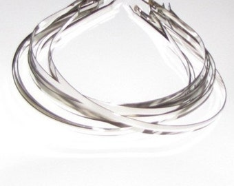 Silver Plated Metal Headbands - Lot of 10 - thin 5mm wide