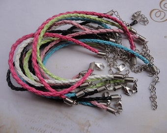 SALE 21pcs 8 inch 3mm mixed color faux braided leather bracelet with 2 inch extension chain