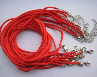 SALE 20pcs 18 inch 2mm red satin necklace cord with 2 inch extension chain