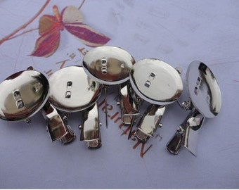 100 pcs 35mm White K Plated/Nickel free Brooch Back Base With Clip and Safety Pin