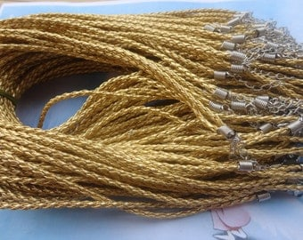 SALE 35pcs 17 inch 3mm gold faux braided leather necklace cord with 2 inch extension chain
