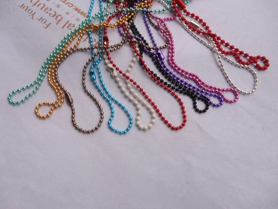 10pcs 2.0mm 27 inch mix color ball chain necklace with matching connector