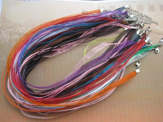 SALE 40pcs 18 inch assorted color ribbon necklace cord with 2 inch extension chain