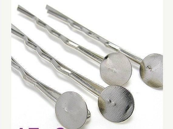 300pcs silver tone straight bobby hair pins with solder round pad 1.8inch
