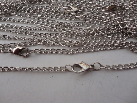100pcs 3x4mm 18 inch white k plated chain necklace with lobster clasp