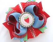 Burst of Spring bottle cap strawberry hair bow M2MG