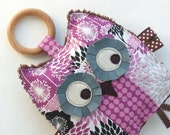 Sophia the Patchwork Owl Crinkle Toy comes with Detachable Organic Wood Teething Ring - Great Baby Girl Gift