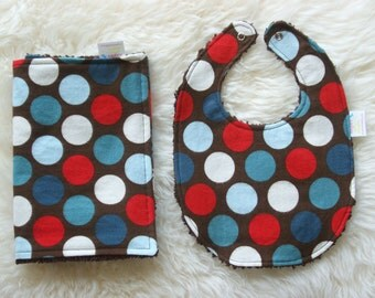 Bib and Burp Cloth Set, Baby Gift, Big Dots, Red White Blue and Brown