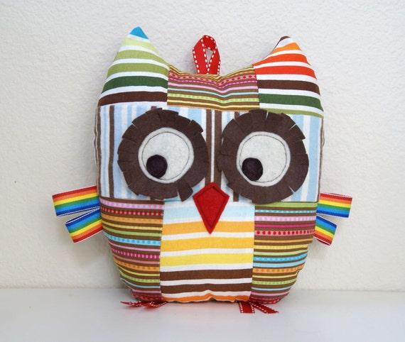 Patchwork Owl, Small Pillow / Plush Toy for Baby Boy or Girl or Toddler - Stripey Stripes