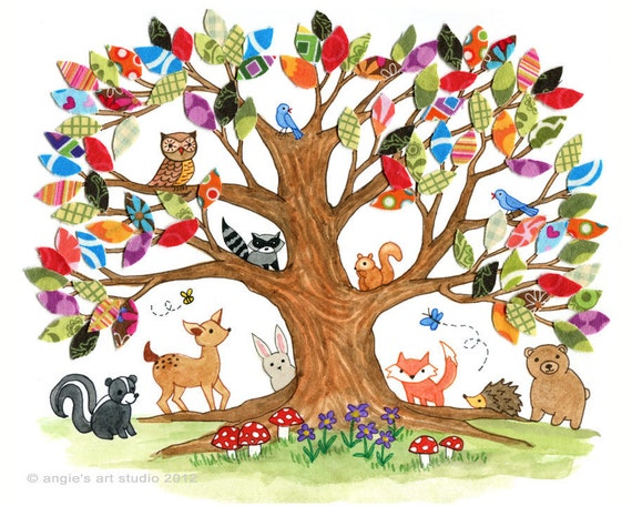 Tree Of Life Woodland Creatures Nursery Wall Art Print