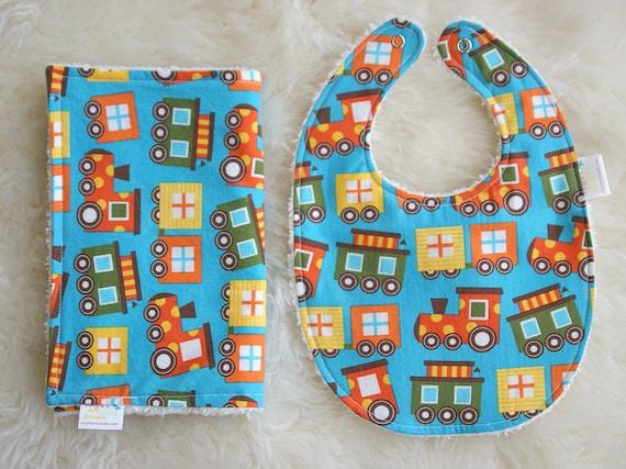 Bib and Burp Cloth Set Baby Boy Gift - Ready Set Go Trains