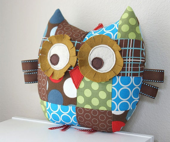 Medium Patchwork Owl Pillow Plush Stuffed Toy-Spots and Circles in Blue, Brown and Green