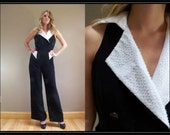 SALE Vintage 80s JUMPSUIT New with tags Michael DeGray pants Beaded evening tuxedo formal