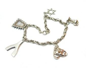 Vintage Charm Bracelet 1978 British Hallmarked Sterling Silver Wishbone Carnival Mask Star Jug Gold Vermeil
