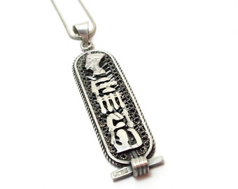 Silver Pendant Necklace Vintage Mid Century Nefertiti Egyptian Revival Hieroglyph 800 Fineness With Sterling 925 Chain