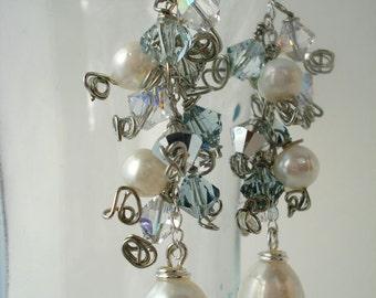 SALE Freshwater Pearl and Swarovski Crystal Cluster Earrings