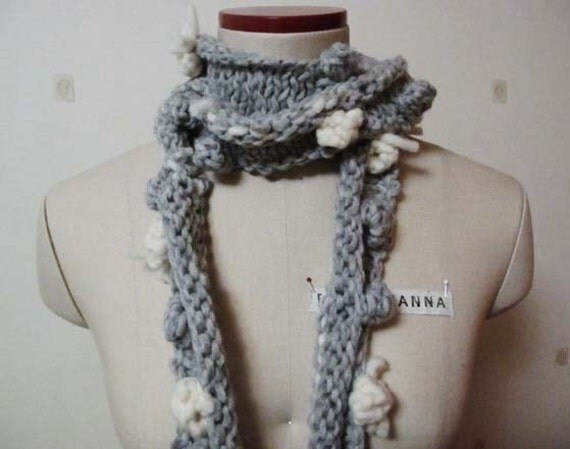 Not just a scarf - Snowballs w/ ribbons - Ready to ship - 20% OFF