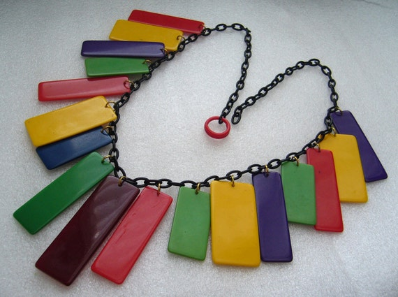Reserved to Moira Teale - Vintage celluloid early plastic art deco multicolor necklace - bakelite era