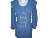 Blue light jeans coat cardigan jacket sweater Forget-Me-Not  with collar hand knitted OOAK coupon code - MyLaceSpace