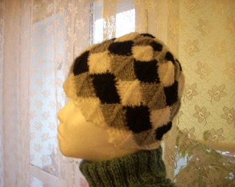 White black gray Mosaic hand knitted hat OOAK
