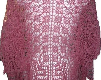 Pink Treasure triangle angora lace shawl handmade knitting ready to ship