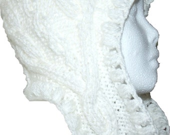 Creamy white cabled hat ecru winter warm wool earflap Snow Queen