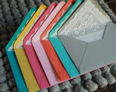 Custom listing for meiinlangkawi: Sweet lace lined envelopes with matching flat cards, perfect for any occasions